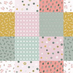 Vector abstract seamless patchwork pattern with geometric and floral ornaments, stylized flowers, dots and lace. Vintage boho style.