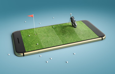 Mobile phone screen golf game concept. Minimal golf field background design