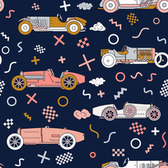 Vector race retro sport car seamless pattern. Vintage automobiles isolated on white background. Memphis Style Pattern