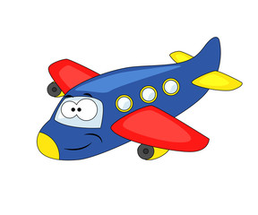 Cute cartoon airplane. Vector illustration isolated on white bac
