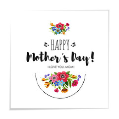 Eelgant greeting card with flowers. Template of Happy Mother's Day card. Handwritten lettering Happy Mother's Day.