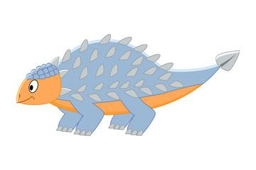 Cute cartoon ankylosaurus. Vector illustration of dinosaur isola
