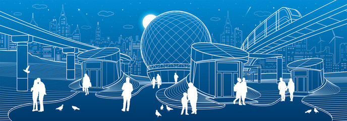 Modern city architecture infrastrucrure. Entrance to the underpass. Futuristic urban illustration. People walking at street. Airplane fly. Night town. White lines on blue background, vector design art