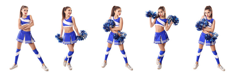 Young cheerleader in blue and white suit with pompoms on white b