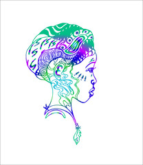 Colorful african girl in profile. Tattoo art illustration.