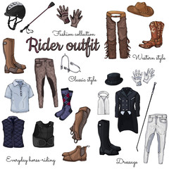 Set of isolated objects on the rider equipment theme. Vector colorful images of sports outfits and clothes for the horse rider.