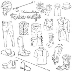 Set of objects on the rider equipment theme. Vector images of sports outfits and clothes for the horse rider.