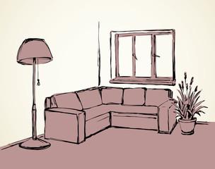 Corner sofa. Vector drawing