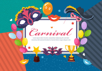 Carnival photo frame card, postcard. Happy masquerade, party, festive accessories.
