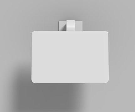 Blank White Advertising PVC shelf wobbler plastic shelf dangler for shopping centers. 3d render illustration.