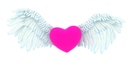 Angel's pink heart. 3D illustration
