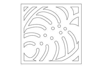 Decorative panel laser cutting. wooden panel. Elegant modern monstera pattern. Tree leave. Stencil. Ratio 1:1. Vector illustration.