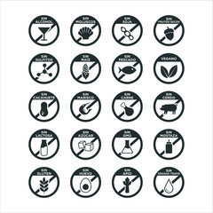 Allergen icon set. Vector illustration. Written in Spanish.