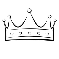 A hand drawn crown in black and white