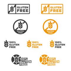 Gluten free icon set. Vector illustration.