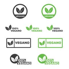 Vegan icon set in Spanish. Vector illustration.