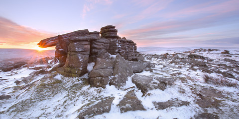 Snowfall on Belstone Tor Dartmoor National Park