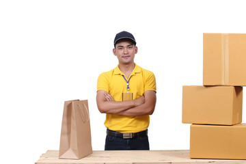 Delivery man Smile happily at work yellow uniform and ready service on isolated white backgrounds