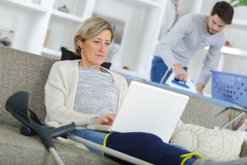 recovering woman using a tablet