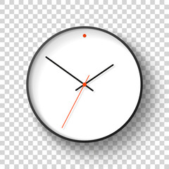 Simple wall Clock in realistic style, minimalistic timer on transparent background. Business watch with a red dot. Vector design element for you project