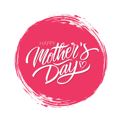 Happy Mother's Day celebrate card with handwritten lettering text design on red circle brush stroke background. Vector illustration.