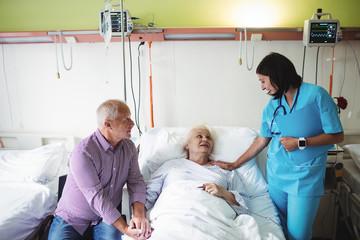 Senior couple interacting with nurse