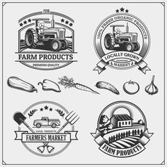 Set of farmers market emblems, logos and labels. Vector illustration.
