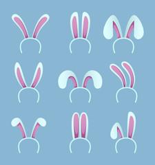 Set of rabbit ears. Easter masks in cartoon style