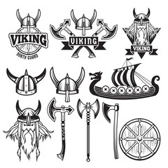 Medieval warriors and his weapons. Labels with vikings. Set isolate on white