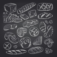 Vector hand drawn contoured bakery elements on black chalkboard