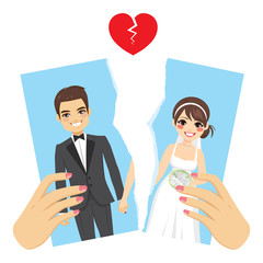 Illustration ripped photo divorce concept with female hands breaking apart wedding day portrait