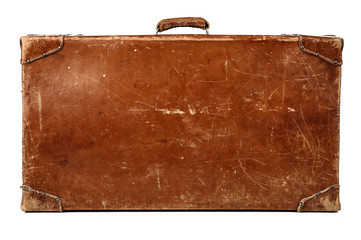 vintage leather baggage isolated