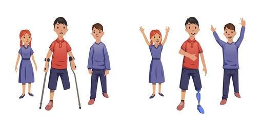 A boy with no legs. With crutches and prosthesis. Vector illustration, isolated on white background.