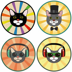 funny cartoon cat in a circle.Set of four illustrations
