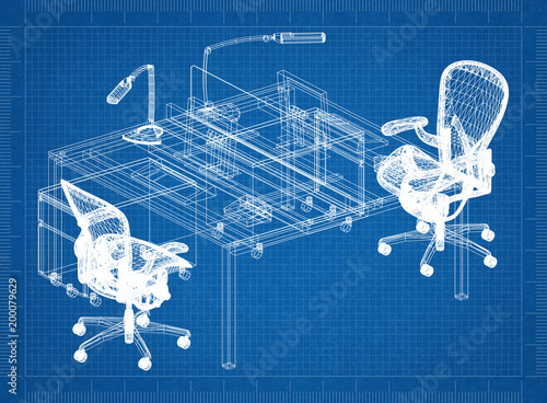 Office furniture 3d blueprint stock photo and royalty free images office furniture 3d blueprint malvernweather Choice Image
