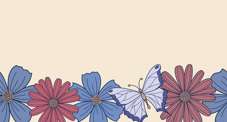 Horizontal seamless background with flowers and butterfly, border
