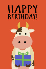 Funny cartoon orange birthday card with cow and gift