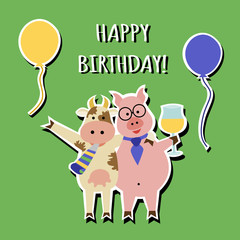 Funny Cartoon Happy Birthday greeting card with cow and pig