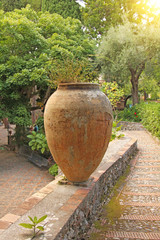 Large Ceramic Terracotta Pot in the Park. Botanical Garden of Taormina. The island of Sicily, Italy