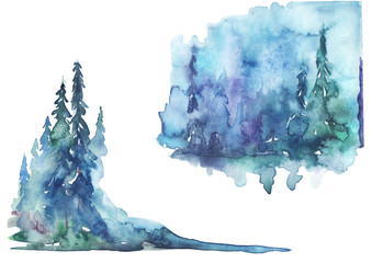 Watercolor landscape, picture. Picture of a pine forest, a blue silhouette of trees and bushes on a white isolated background. Set of watercolor drawings, stickers