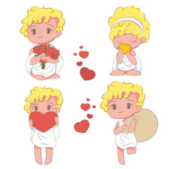 Vector illustration of cupids in cartoon style on white background
