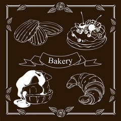 Madeleine, Croissant,Eclair, Pavlova