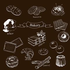Waffles, Madeleine, Croissant, Petites sables, Canela , Churros, Paris Brest, Eclair, Pavlova