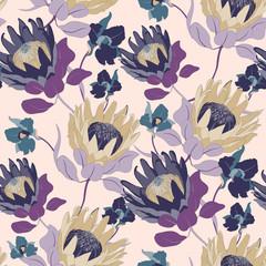 Protea Vintage Flower Seamless Vector Pattern