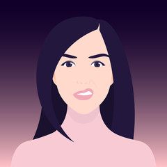 Disgust and discontent. A woman's face in a grimace. Negative emotions. Vector illustration