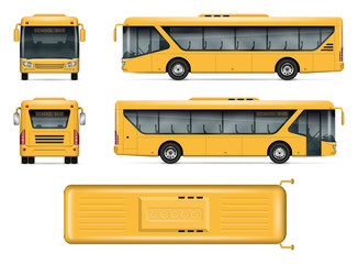 School bus vector mock-up. Isolated template of yellow autobus on white. Vehicle branding mockup. Side, front, back, top view. All elements in the groups on separate layers. Easy to edit and recolor.