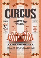 Vintage Grunge Striped Circus Poster