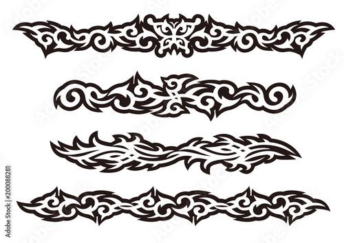 """Tattoo Tribal Design Art Set, Vector Illustration"" Stock"