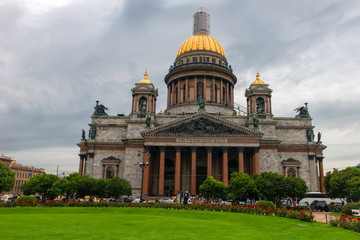RUSSIA, SAINT PETERSBURG - AUGUST 18, 2017: Famous Cathedral in St Petersburg and Unesco World Heritage site. Saint Isaac's Cathedral