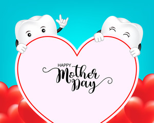 Cute cartoon tooth character with heart shape. Mother day banner background template with red heart  Illustration on blue  background.